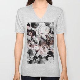 flowers - roses and black marble Unisex V-Neck