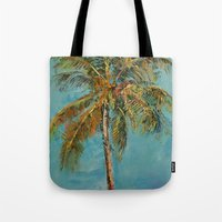 palm tree Tote Bags featuring Palm Tree by Michael Creese