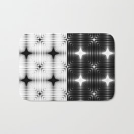 Abstract tile made of white and black stretches of kradratov, rhombuses and stars. Bath Mat