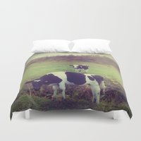 cows Duvet Covers featuring Rustic Cows by Olivia Joy StClaire