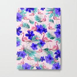 Hibiscus Flamingo Palm Vibes #1 #tropical #decor #art #society6 Metal Print