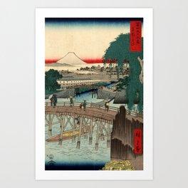 Ichikoku Bridge in the Eastern Capital by Hiroshige Art Print