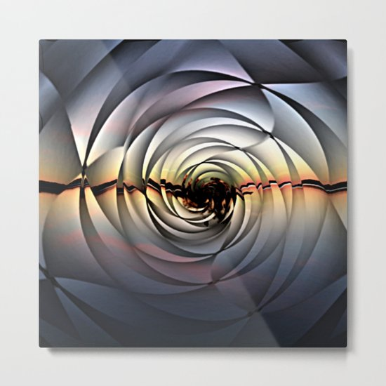 Island Sunset on Abstract Rose Metal Print
