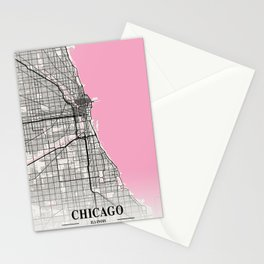 Chicago - Illinois Neapolitan City Map Stationery Cards