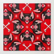Vampire Bat Face Geometric Pattern Canvas Print