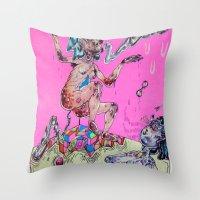 gemini Throw Pillows featuring gemini by Kira Leigh