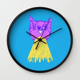 Cat Vomit - Purple Poot + Blue Background Wall Clock