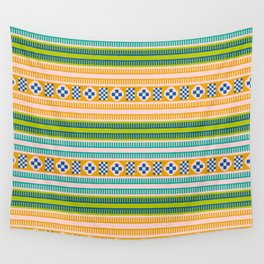 Native American Traditional Ethnic Tribal Indian Blanket Motif Pattern Orange Green Wall Tapestry
