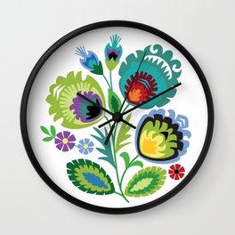 Polish Folk Flowers Green Wall Clock