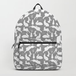Rabbit Pattern | Rabbit Silhouettes | Bunny Rabbits | Bunnies | Hares | Grey and White | Backpack