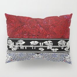 Cracked Red & Burgundy Marble,; B & W Stained Glass Ribbon; Red & Blue on White Cracked Glass on Bot Pillow Sham