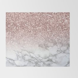 Sparkle - Glittery Rose Gold Marble Throw Blanket