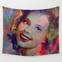 pin up Wall Tapestries featuring Smile of  Pin Up  by Ganech joe