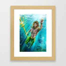 aquaman kng of atlantis trident under sea water blue sexy muscle tattoo Framed Art Print