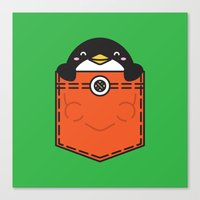 pocket Canvas Prints featuring Pocket Penguin by Steven Toang