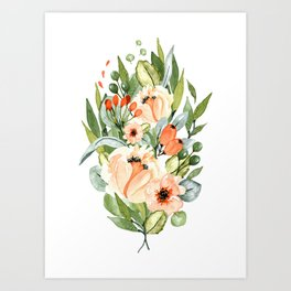 White Orchards Bouquet Art Print