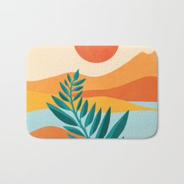 Mountain Sunset / Abstract Landscape Illustration Bath Mat