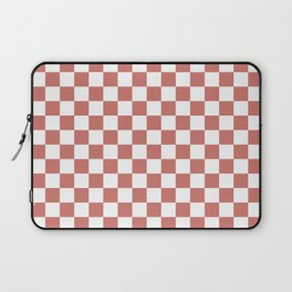 Large Camellia Pink and White Checkerboard Square Pattern Laptop Sleeve