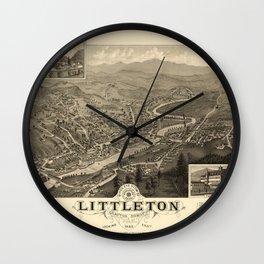 Map Of Littleton 1883 Wall Clock