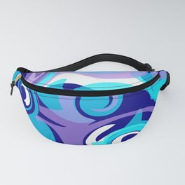 Finger Paint Swirls in Turquoise, Lavender, Purple, Navy Fanny Pack