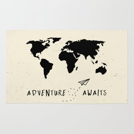 Adventure Map - Vintage Black Rug