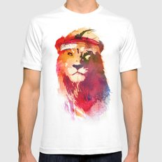 Gym Lion MEDIUM Mens Fitted Tee White