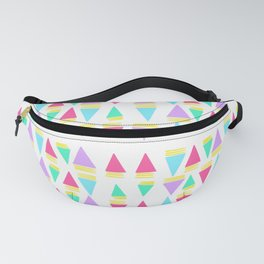 Colorful Triangles with Stripes Pattern // Cheerful Triangles Illustration  Fanny Pack