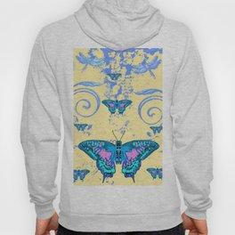 ORNATE BLUE BUTTERFLIES SCROLL DESIGNS  ART Hoody