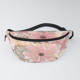 Pink Sage Green Floral Leaves Watercolor Pattern Fanny Pack