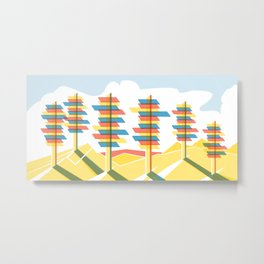 Retro Future Trees Litho Metal Print