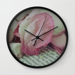 Rose Petals on Page Wall Clock