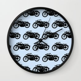 Antique Motorcycle // Light Blue Wall Clock