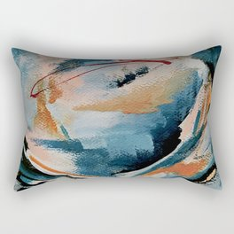 Drift 6: a bold mixed media piece in blues, brown, pink and red Rectangular Pillow