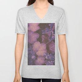 Blue Purple and Violet Autumn Leaves Unisex V-Neck