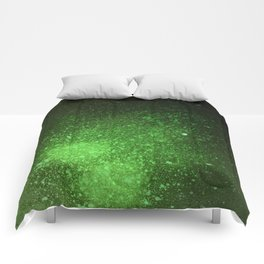 Green and Black Spray Paint Splatter Comforters