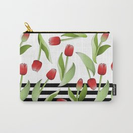 Modern Vintage Red Tulip Floral Patten Carry-All Pouch