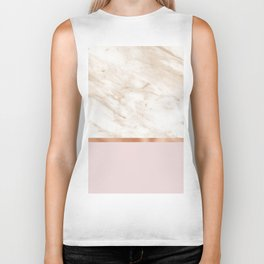 Caramel marble on rose gold blush Biker Tank