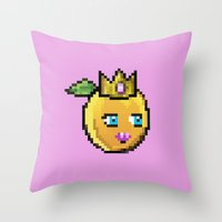 princess peach Throw Pillows featuring Princess Peach by Sam Pea