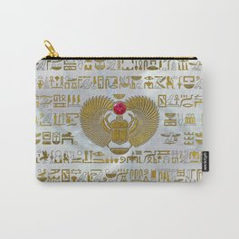 Egyptian Scarab Beetle Gold and Ruby Stone Carry-All Pouch