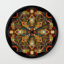 Mandala Sacred Rams - Dark Version Wall Clock