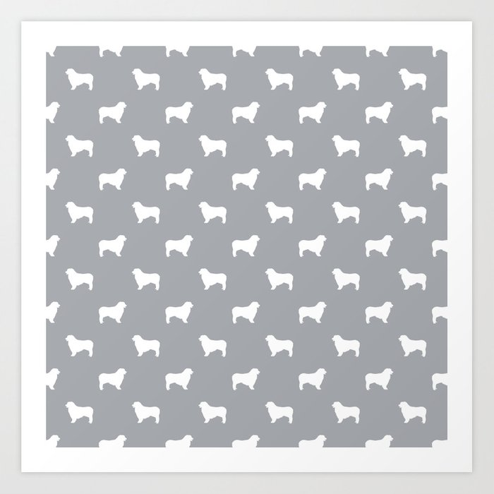 Australian Shepherd silhouette grey and white dog breed pattern simple minimal dog gifts Kunstdrucke