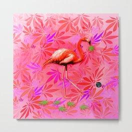Blushing Cannabis Flamingo Metal Print