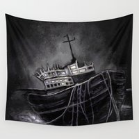 voyage Wall Tapestries featuring Dark Voyage by Rouble Rust