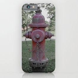 M&H Valve Company Fire Hydrant 129 Faded Red and Green Fire Plug iPhone Case