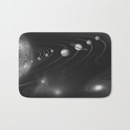 the solar system. black and white Bath Mat