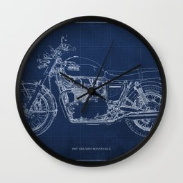 1969 triumph bonneville classic vintage motorcycle christmas gift Wall Clock