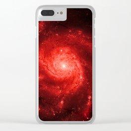 Pinwheel Galaxy Deep Red Clear iPhone Case