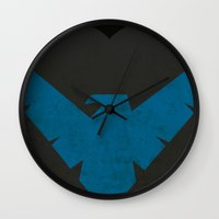 nightwing Wall Clocks featuring Nightwing by JHTY