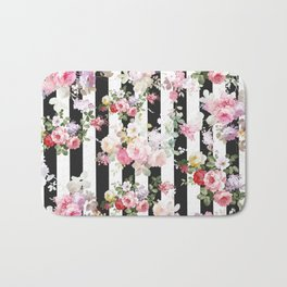 Bold pink watercolor roses floral black white stripes Bath Mat