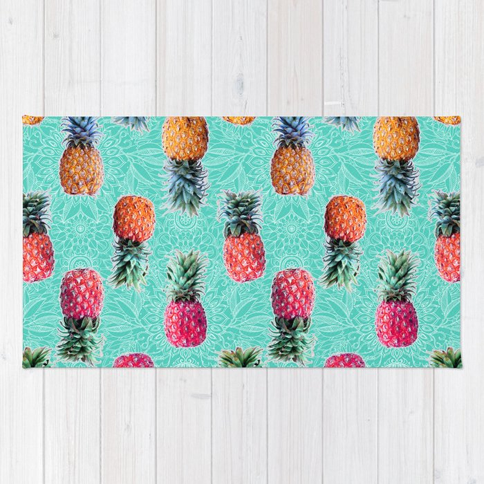 Tropical Doodle Pattern On Mint